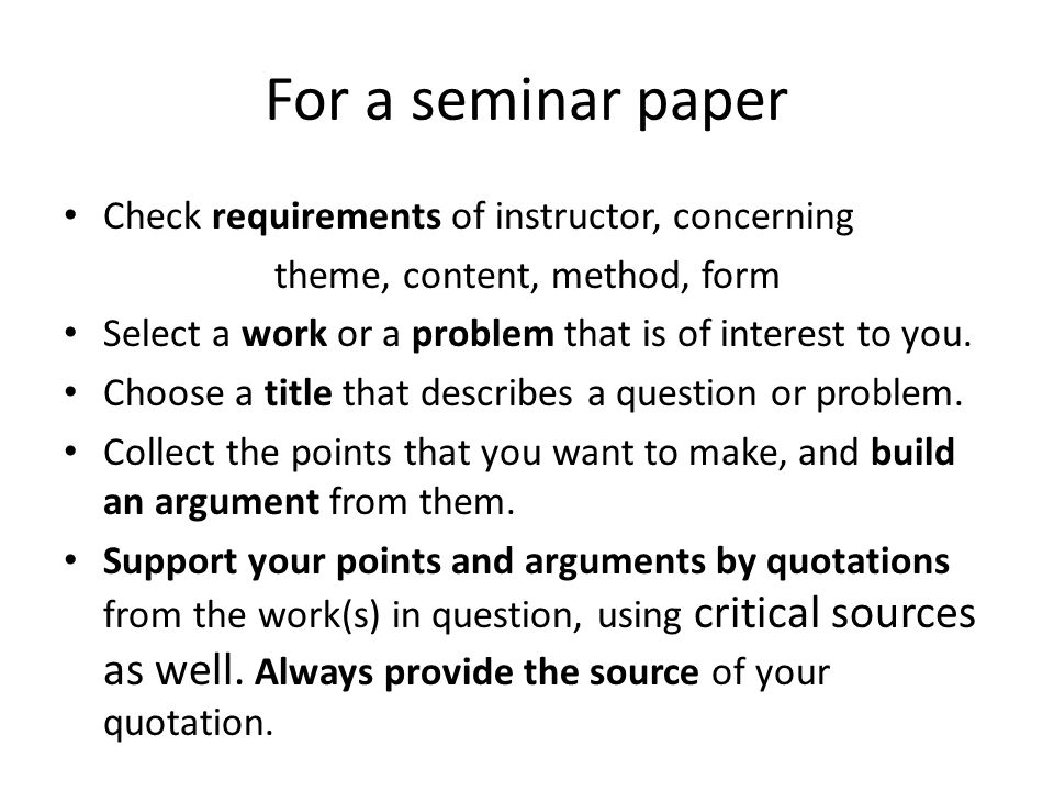 In the introduction explain what you want to do, such as analyse a book from a certain point of view; compare the treatment of a problem in two or more works; describe a feature of an author s style or other strategy in two or more works by the same author; discuss a more theoretical question of literature using works as examples.