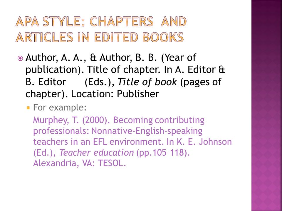  Author, A.A., & Author, B. B. (Year of publication).