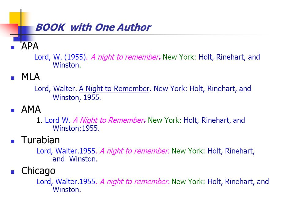 BOOK with One Author APA Lord, W. (1955). A night to remember.