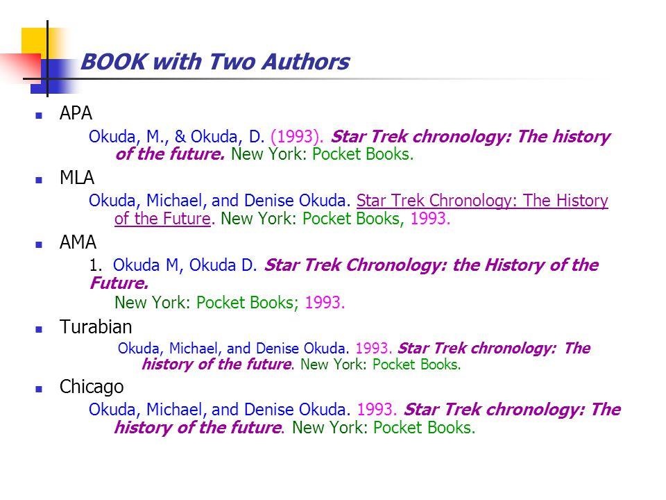BOOK with Two Authors APA Okuda, M., & Okuda, D. (1993). Star Trek chronology: The history of the future. New York: Pocket Books. MLA Okuda, Michael,