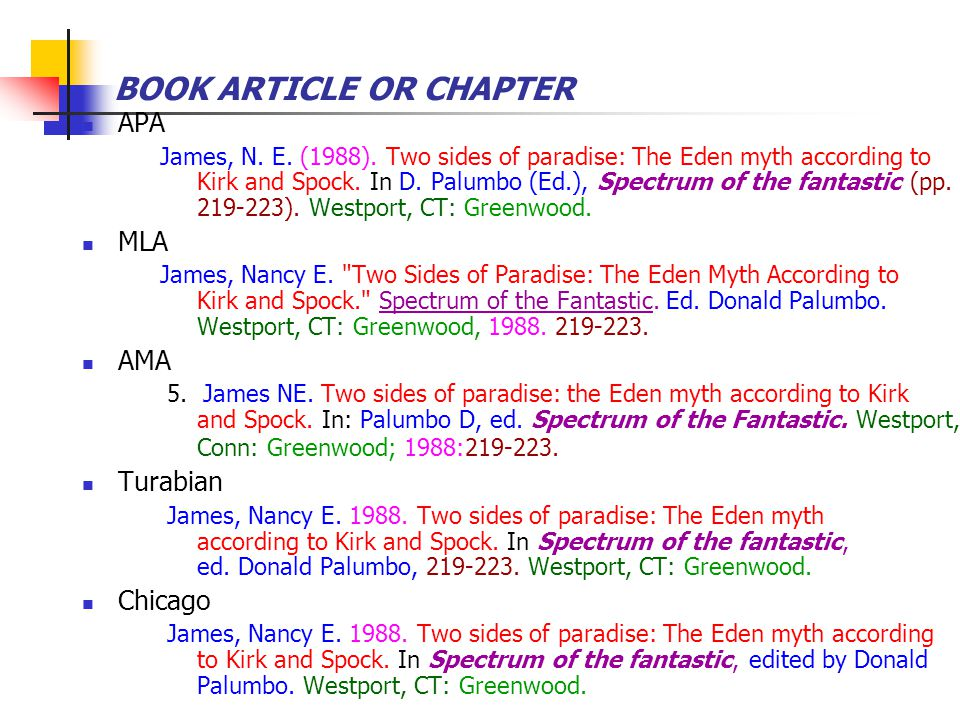 BOOK ARTICLE OR CHAPTER APA James, N. E. (1988). Two sides of paradise: The Eden myth according to Kirk and Spock. In D. Palumbo (Ed.), Spectrum of th