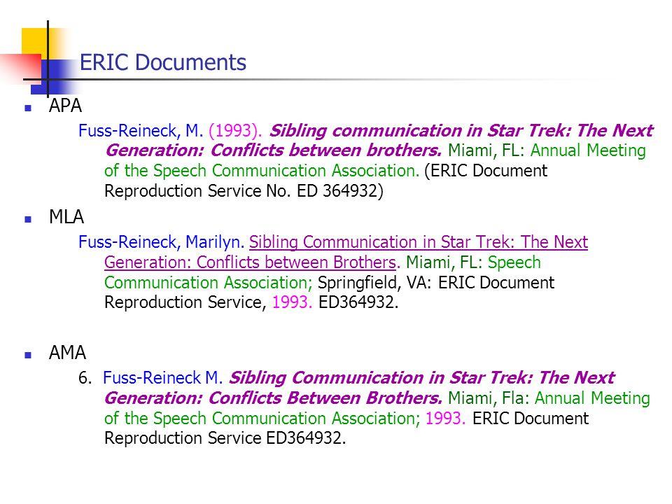 ERIC Documents APA Fuss-Reineck, M. (1993).