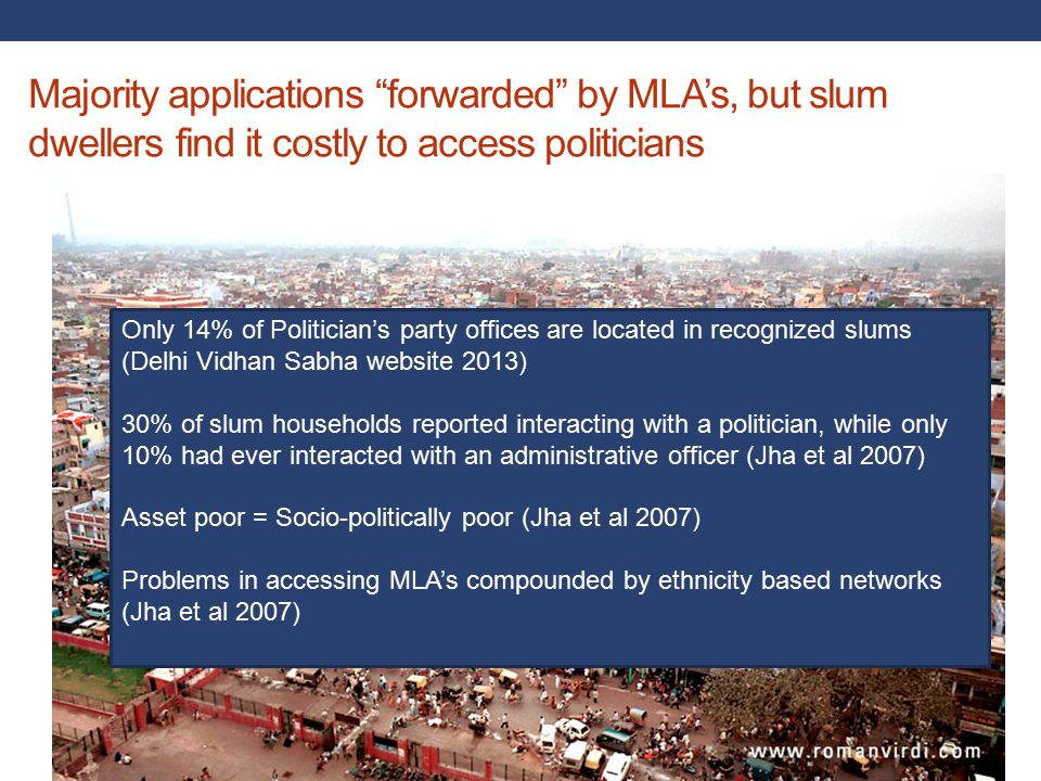 Majority applications forwarded by MLA's, but slum dwellers find it costly to access politicians Collective action .