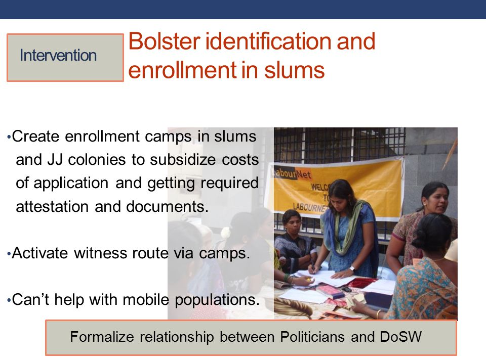 Bolster identification and enrollment in slums Intervention Create enrollment camps in slums and JJ colonies to subsidize costs of application and getting required attestation and documents.