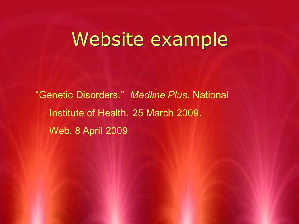 Website example Genetic Disorders. Medline Plus.