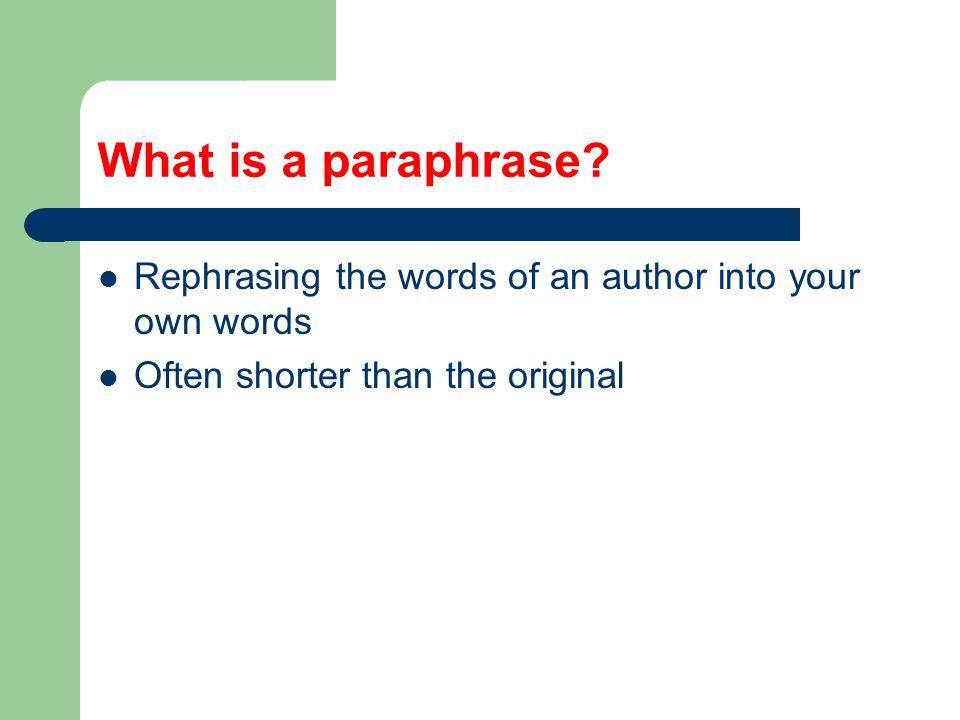 When should I paraphrase.