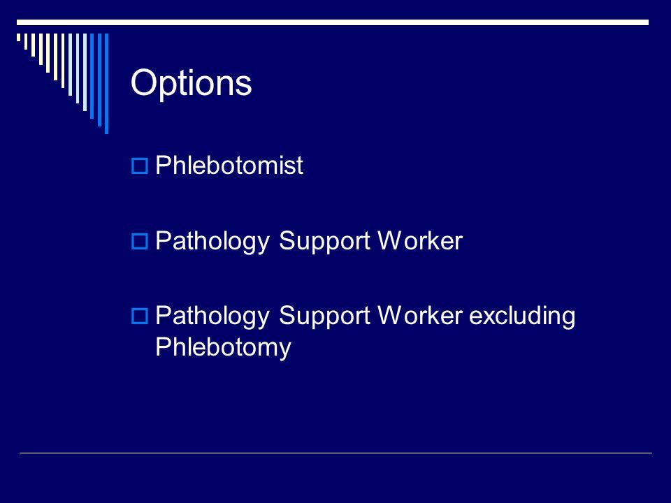 Options  Phlebotomist  Pathology Support Worker  Pathology Support Worker excluding Phlebotomy