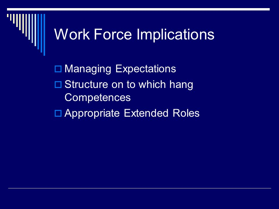 Work Force Implications  Managing Expectations  Structure on to which hang Competences  Appropriate Extended Roles