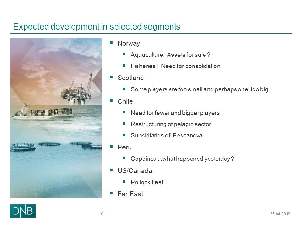 Expected development in selected segments  Norway  Aquaculture: Assets for sale .