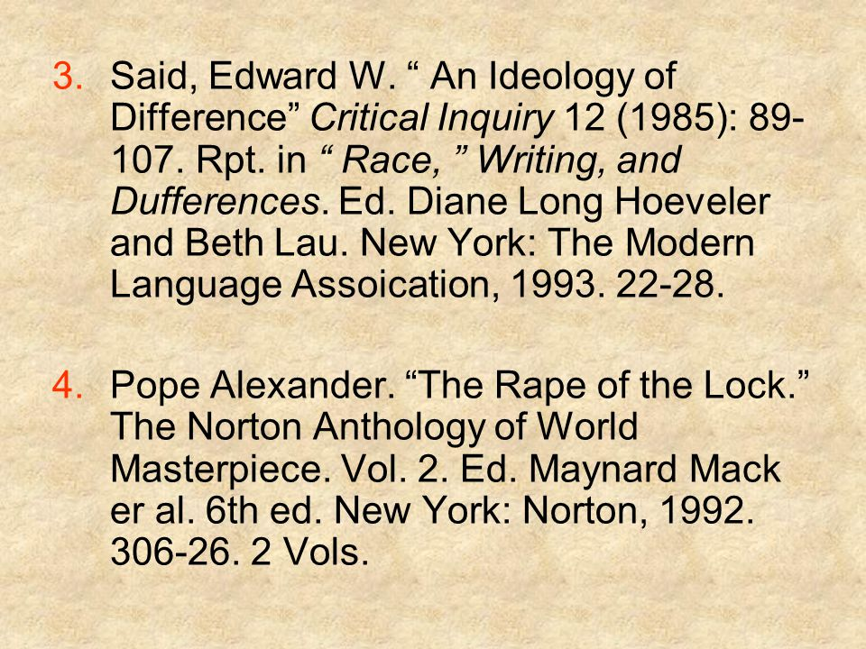 3.Said, Edward W. An Ideology of Difference Critical Inquiry 12 (1985): 89- 107.
