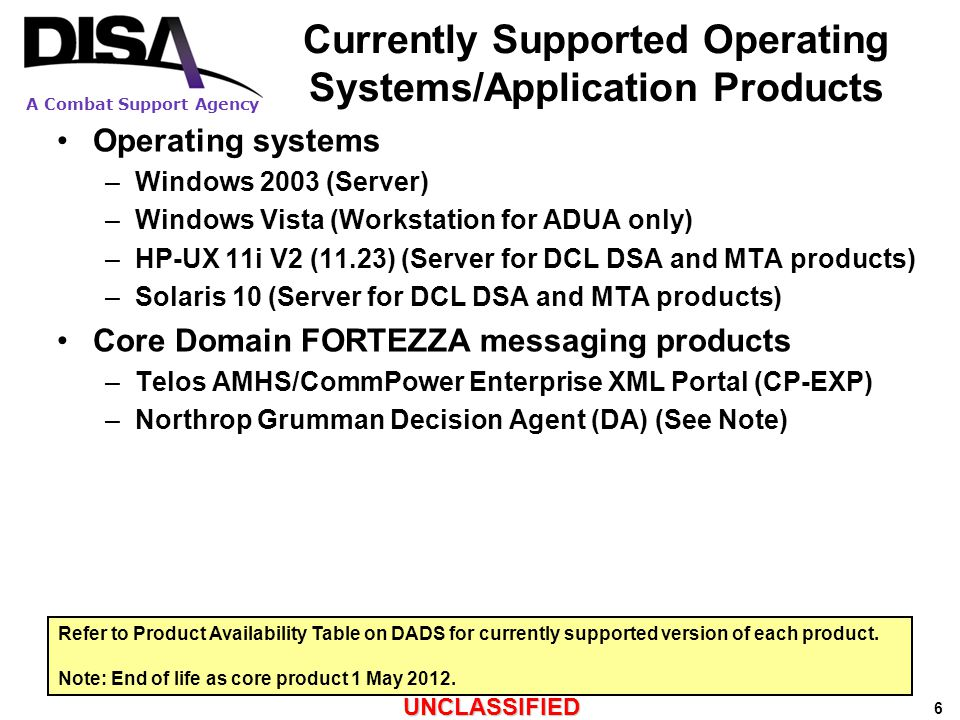 A Combat Support Agency UNCLASSIFIED 27  Phases of DMS Product Support Lifecycle Security Fixes (IAVAs) and Anti-Virus Support.