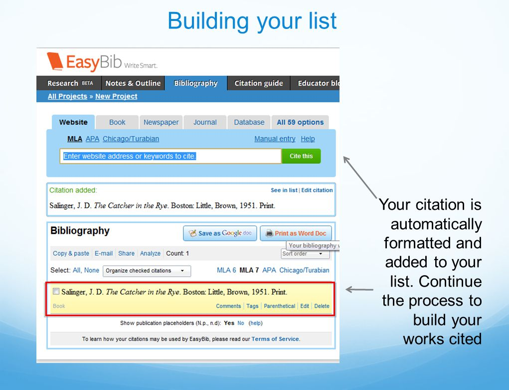 Your citation is automatically formatted and added to your list.