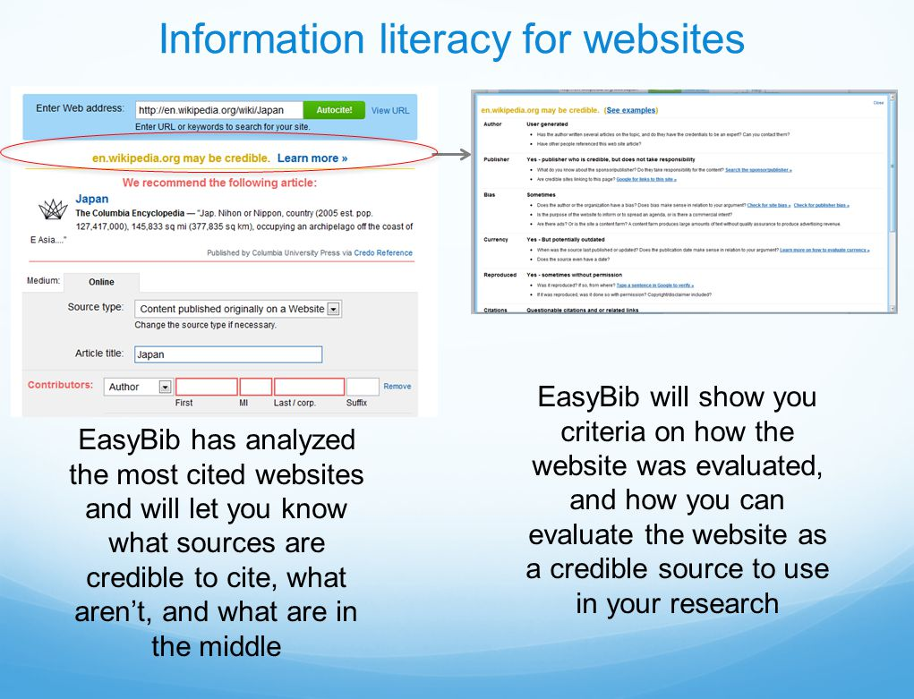 EasyBib has analyzed the most cited websites and will let you know what sources are credible to cite, what aren't, and what are in the middle Information literacy for websites EasyBib will show you criteria on how the website was evaluated, and how you can evaluate the website as a credible source to use in your research