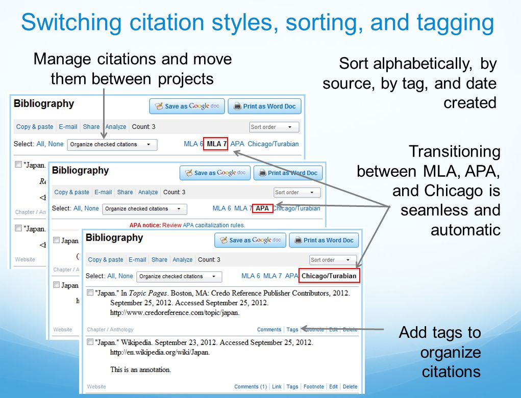Switching citation styles, sorting, and tagging Add tags to organize citations Transitioning between MLA, APA, and Chicago is seamless and automatic Sort alphabetically, by source, by tag, and date created Manage citations and move them between projects