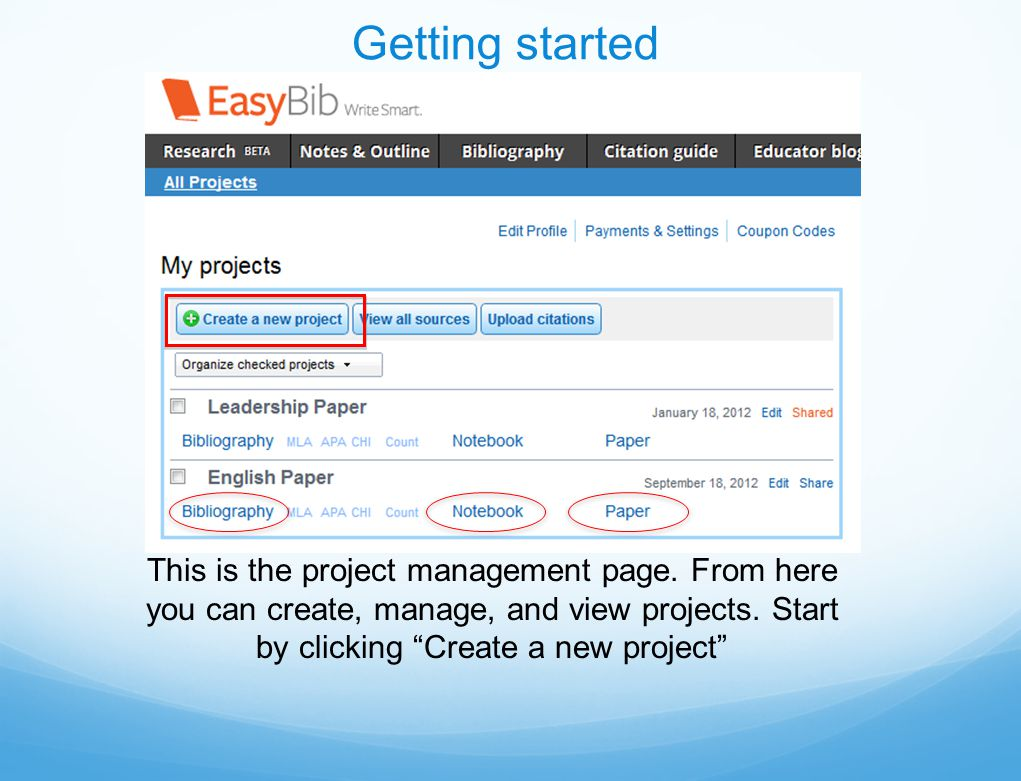 This is the project management page. From here you can create, manage, and view projects.