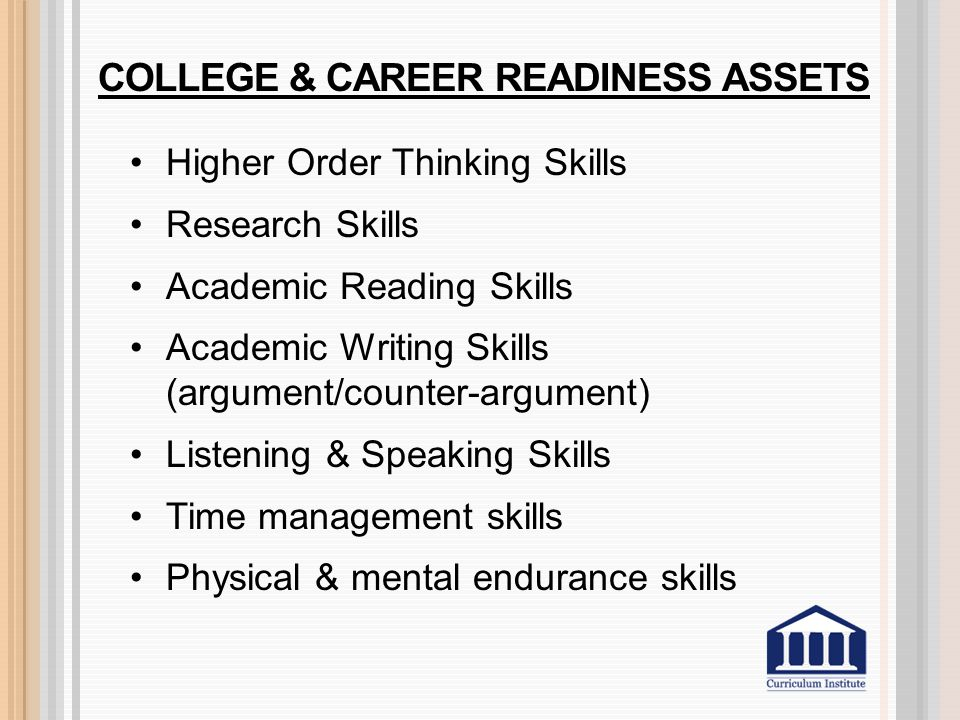 COLLEGE & CAREER READINESS ASSETS Higher Order Thinking Skills Research Skills Academic Reading Skills Academic Writing Skills (argument/counter-argum