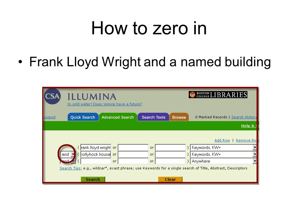 How to zero in Frank Lloyd Wright and a named building