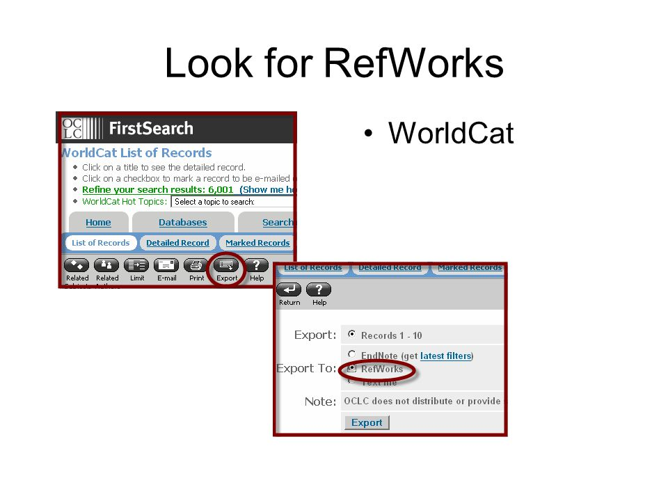 Look for RefWorks WorldCat