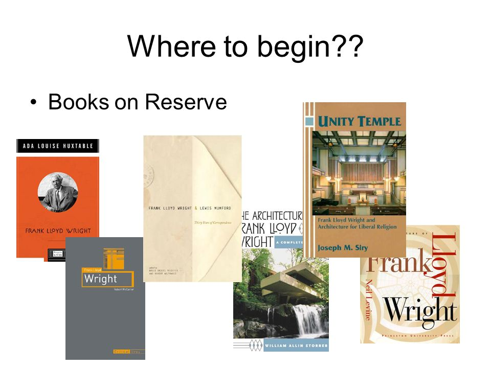 Where to begin?? Books on Reserve