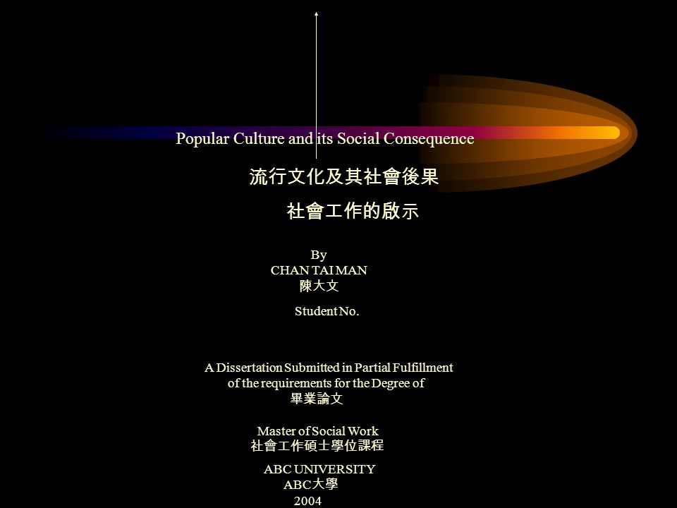 Popular Culture and its Social Consequence 流行文化及其社會後果 社會工作的啟示 By CHAN TAI MAN 陳大文 Student No.