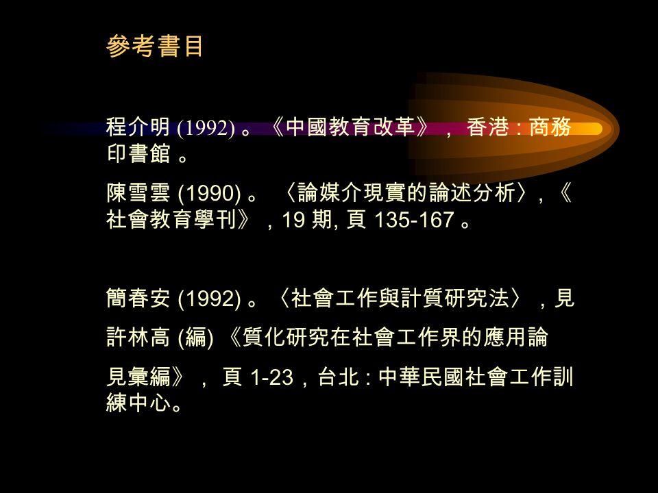參考書目 程介明 (1992) 。《中國教育改革》, 香港 : 商務 印書館 。 陳雪雲 (1990) 。 〈論媒介現實的論述分析〉, 《 社會教育學刊》, 19 期, 頁 135-167 。 簡春安 (1992) 。〈社會工作與計質研究法〉,見 許林高 ( 編 ) 《質化研究在社會工作界的應用論 見彙編》, 頁 1-23 ,台北 : 中華民國社會工作訓 練中心。
