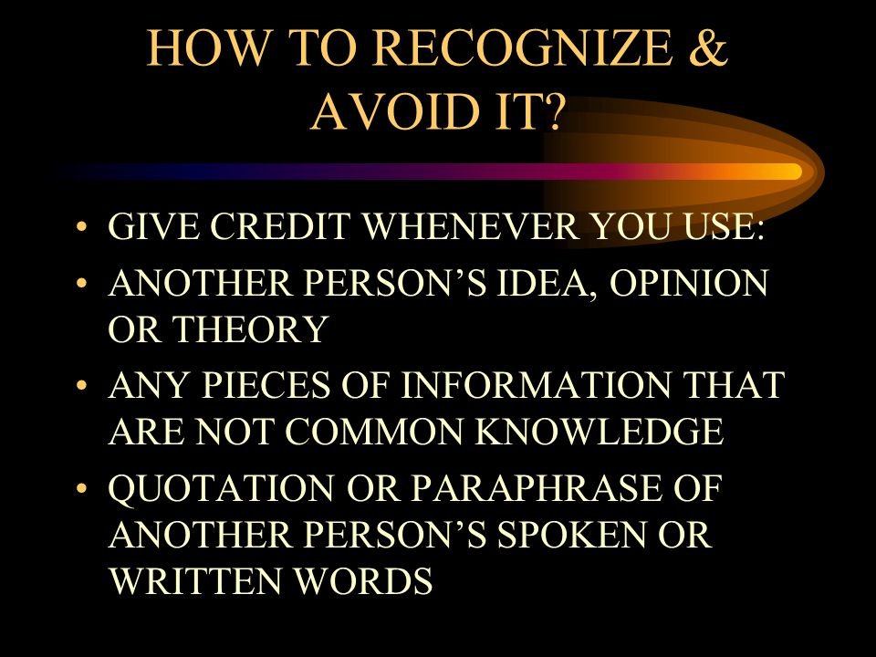 HOW TO RECOGNIZE & AVOID IT.