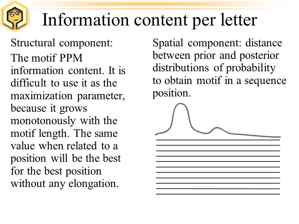 Information content per letter Structural component: The motif PPM information content. It is difficult to use it as the maximization parameter, becau