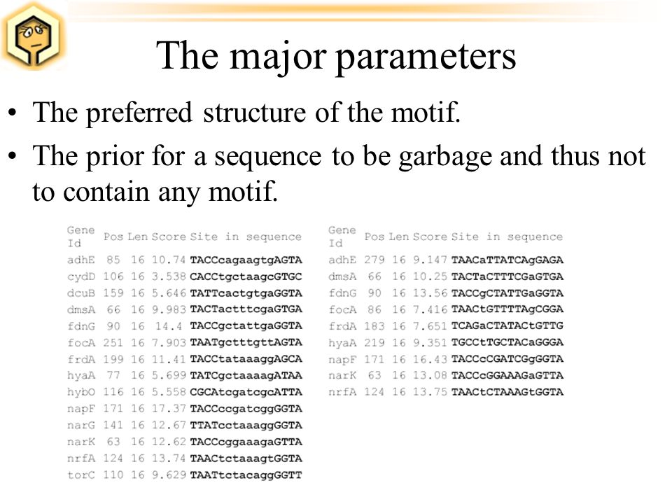 The major parameters The preferred structure of the motif. The prior for a sequence to be garbage and thus not to contain any motif.