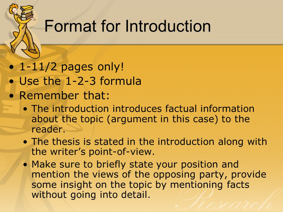 Format for Introduction 1-11/2 pages only.