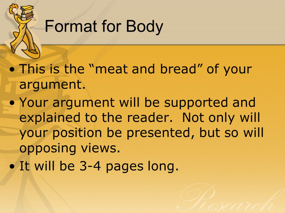 Format for Body This is the meat and bread of your argument.
