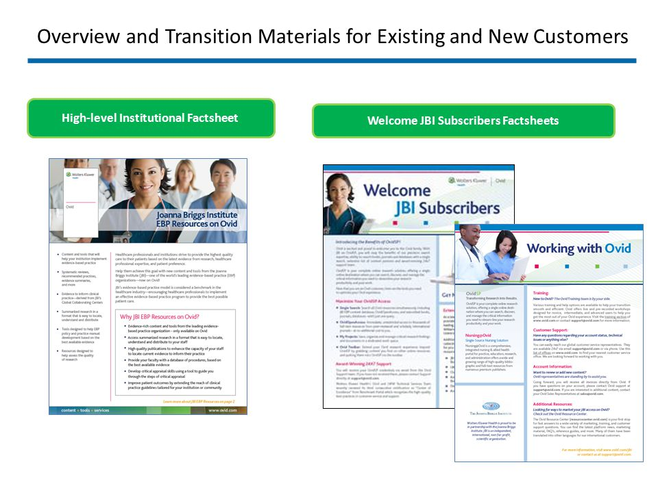 Overview and Transition Materials for Existing and New Customers Welcome JBI Subscribers Factsheets High-level Institutional Factsheet