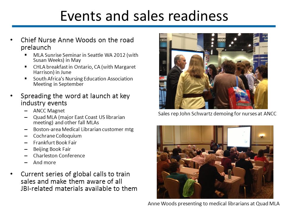 Events and sales readiness Chief Nurse Anne Woods on the road prelaunch  MLA Sunrise Seminar in Seattle WA 2012 (with Susan Weeks) in May  CHLA brea