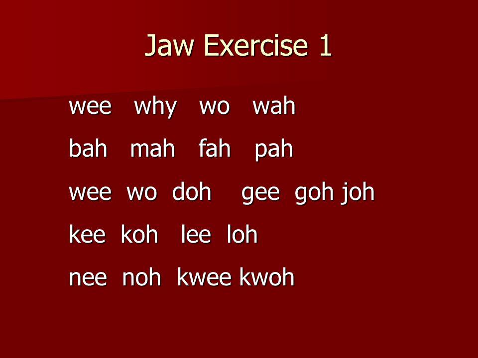 Jaw Exercise 1 wee why wo wah bah mah fah pah wee wo doh gee goh joh kee koh lee loh nee noh kwee kwoh