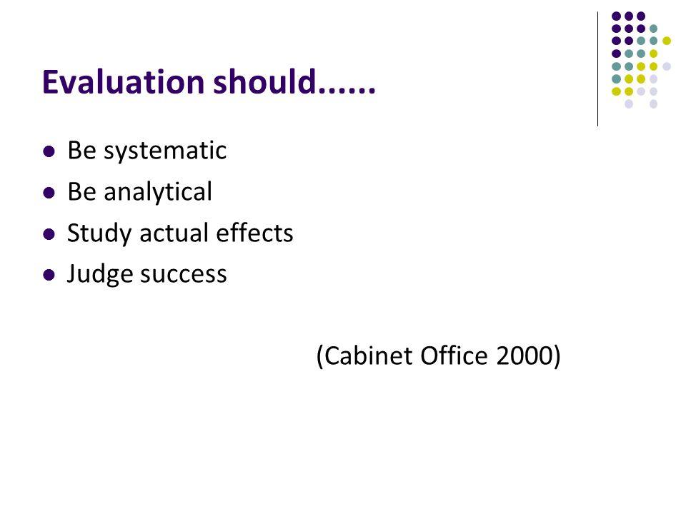Evaluation should......