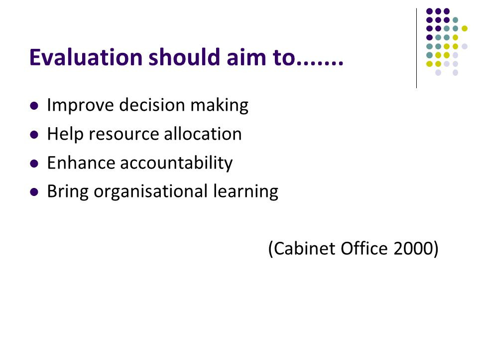 Evaluation should aim to.......