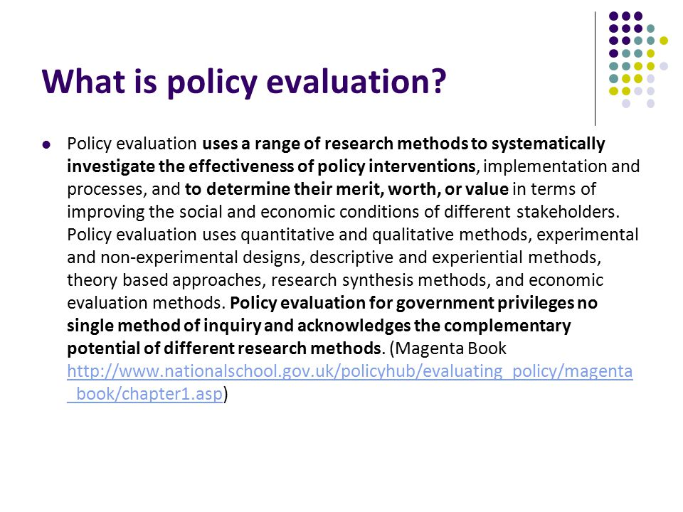 What is policy evaluation.