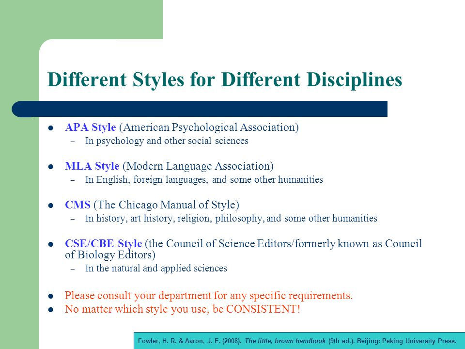 Different Styles for Different Disciplines APA Style (American Psychological Association) – In psychology and other social sciences MLA Style (Modern