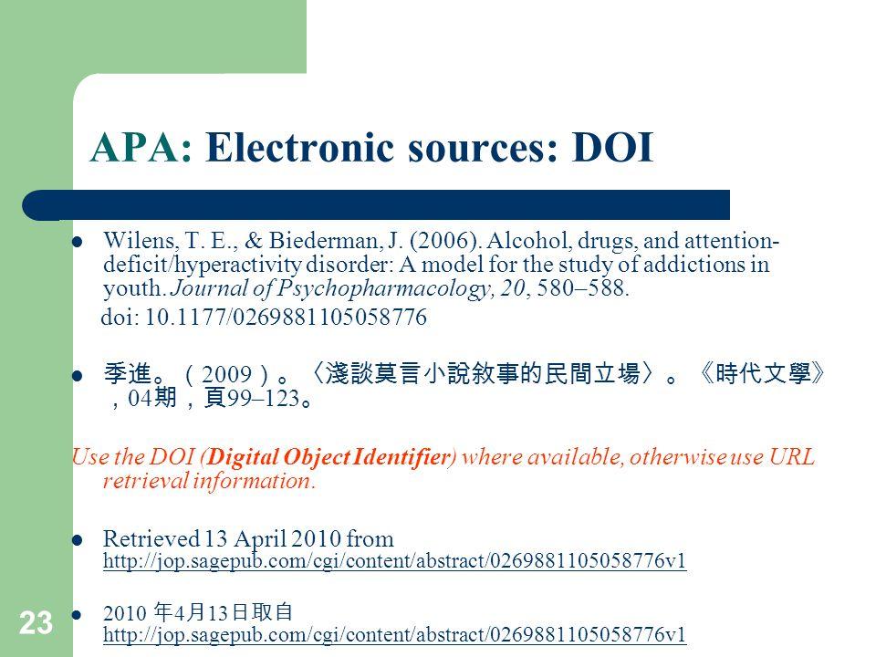 23 APA: Electronic sources: DOI Wilens, T. E., & Biederman, J.
