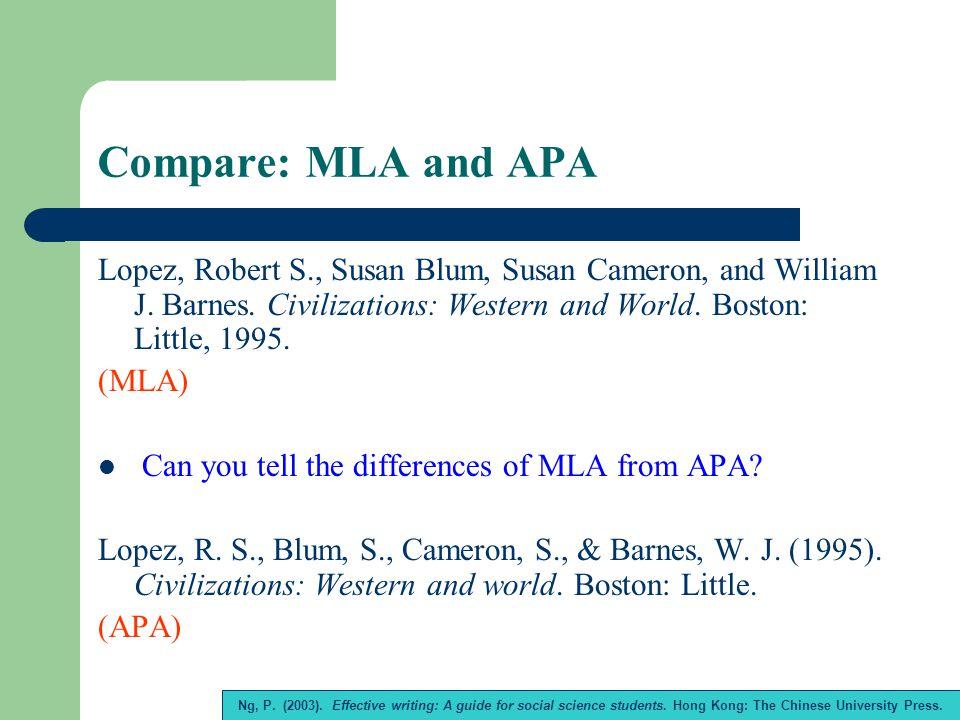 Compare: MLA and APA Lopez, Robert S., Susan Blum, Susan Cameron, and William J.