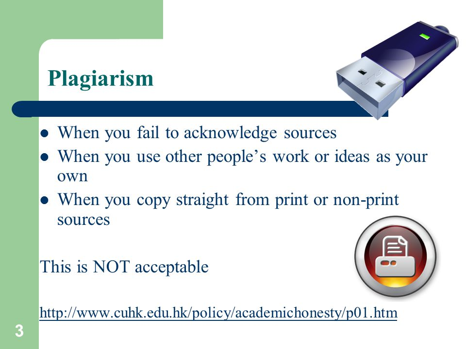 4 Citation Give due credit to others' ideas Using others' ideas without acknowledgement = plagiarism 剽竊 Never simply rearrange or replace certain words in the original text.
