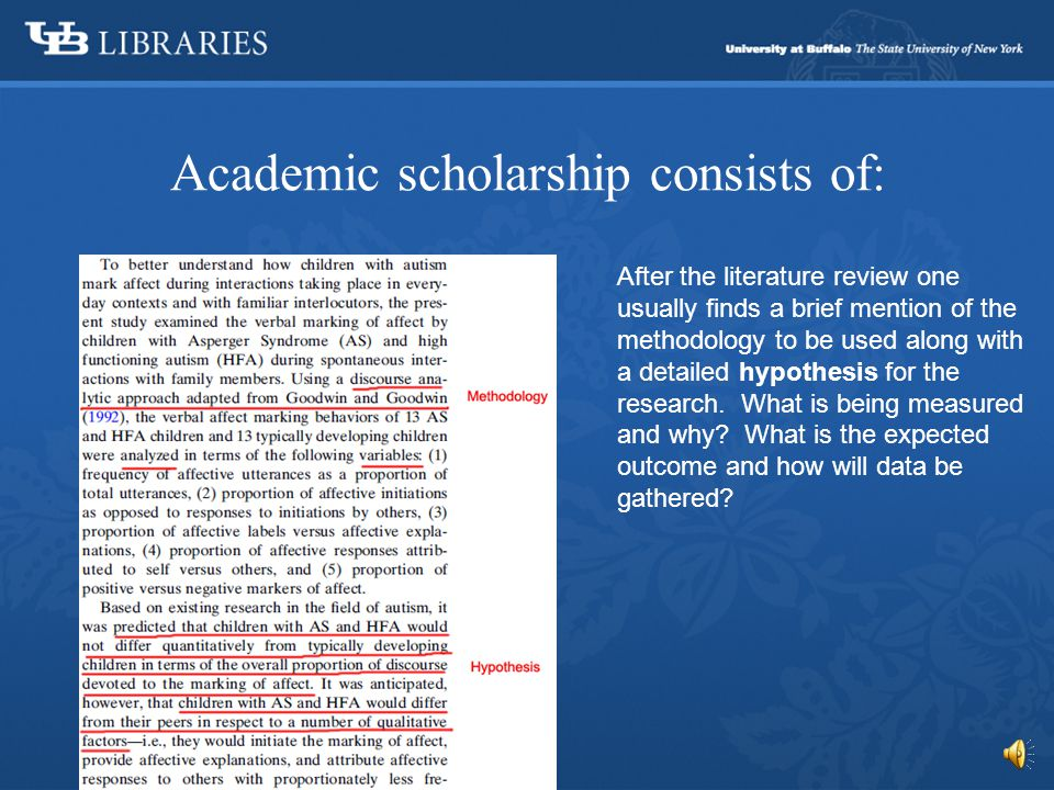 Academic scholarship consists of: A literature review goes through earlier research that has already been done on the topic.