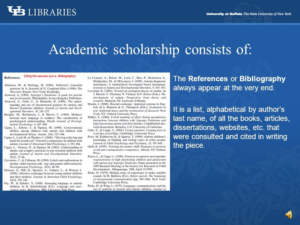 Academic scholarship consists of: The last piece of the article is the Conclusion.