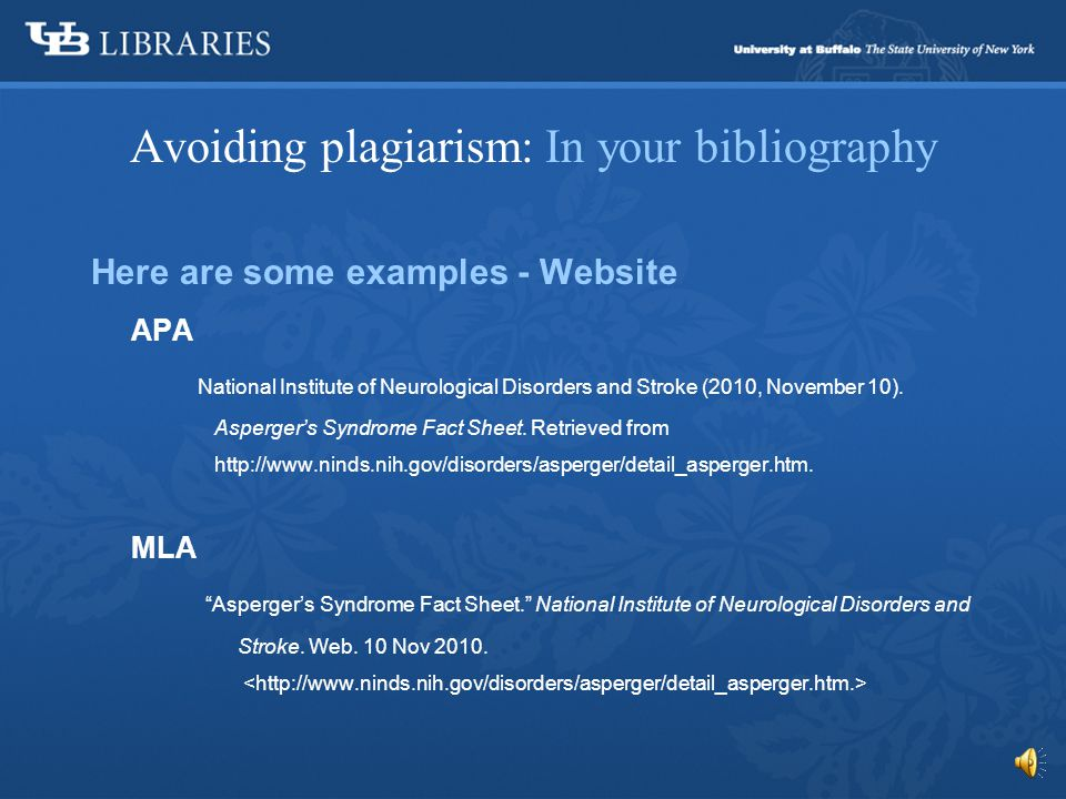 Avoiding plagiarism: In your bibliography The University Libraries have an excellent guide to the most popular citation styles here, Citing Sources.Citing Sources
