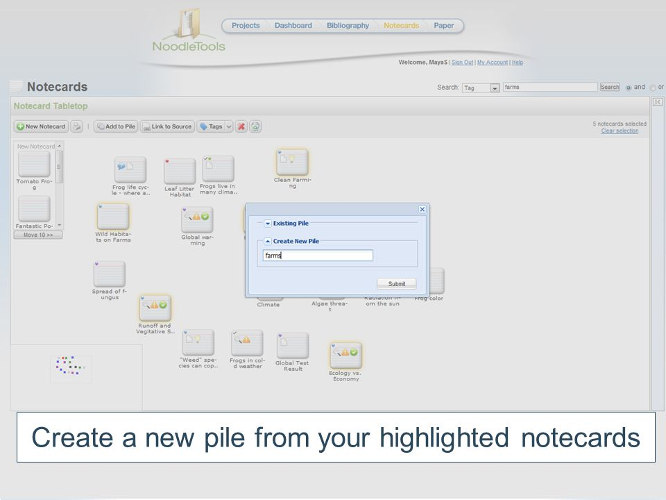 Create a new pile from your highlighted notecards