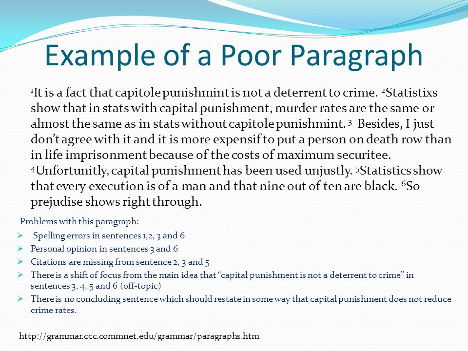 Example of a Poor Paragraph 1 It is a fact that capitole punishmint is not a deterrent to crime.