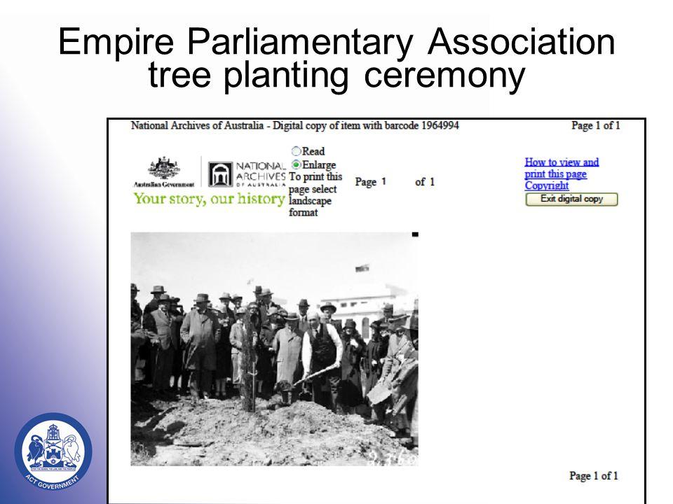 Empire Parliamentary Association tree planting ceremony