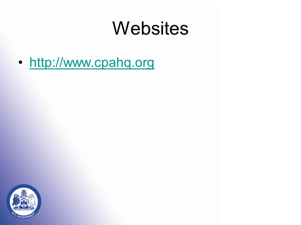 Websites http://www.cpahq.org