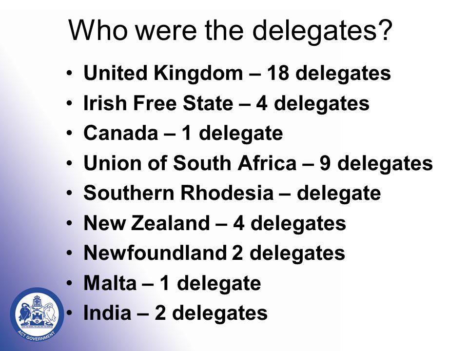 Who were the delegates.