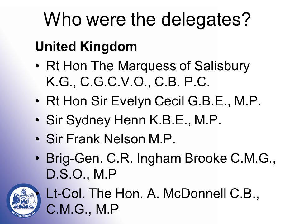 Who were the delegates. United Kingdom Rt Hon The Marquess of Salisbury K.G., C.G.C.V.O., C.B.