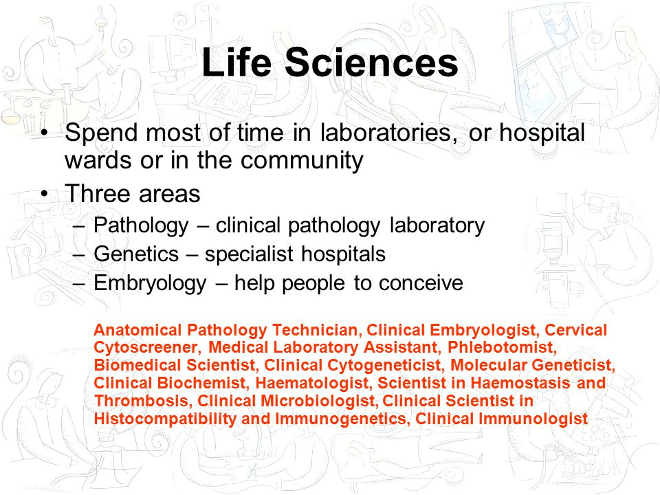 Life Sciences Spend most of time in laboratories, or hospital wards or in the community Three areas –Pathology – clinical pathology laboratory –Genetics – specialist hospitals –Embryology – help people to conceive Anatomical Pathology Technician, Clinical Embryologist, Cervical Cytoscreener, Medical Laboratory Assistant, Phlebotomist, Biomedical Scientist, Clinical Cytogeneticist, Molecular Geneticist, Clinical Biochemist, Haematologist, Scientist in Haemostasis and Thrombosis, Clinical Microbiologist, Clinical Scientist in Histocompatibility and Immunogenetics, Clinical Immunologist